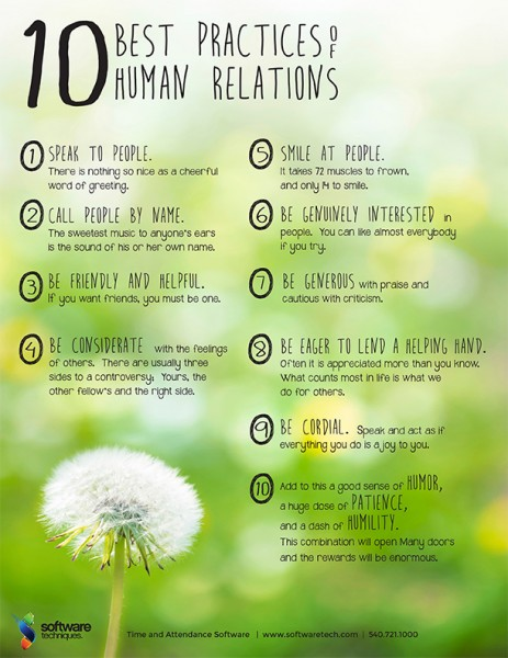 A list about 10 best practices of human relations